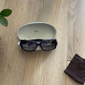 DIOR Black Wide Frame Tinted Sunglasses